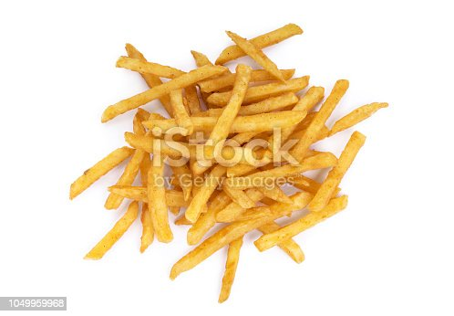 Top view of a pile of cooked french fries isolated on a white background.