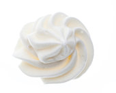 """top view of a """"rose"""" made of whipped cream"""