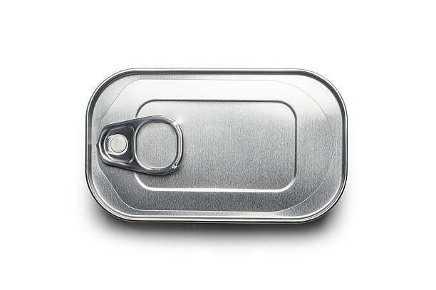 Top view of a silver sardine can stock photo