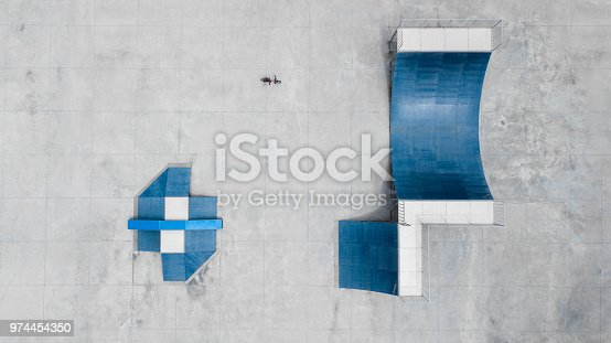 istock Top view of a skateboard park. 974454350