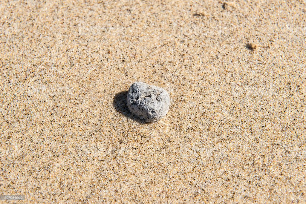 Top view of a small rock on wet beach sand royalty-free stock photo