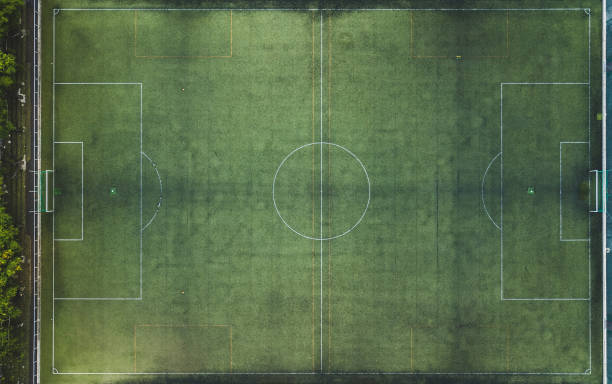 Top view of a soccer field. stock photo