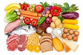 Top view of a table filled with different types of food