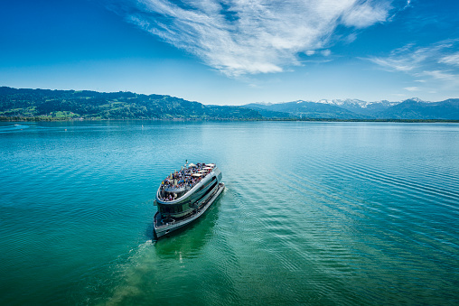 top view of a tourboat on Lake Constance