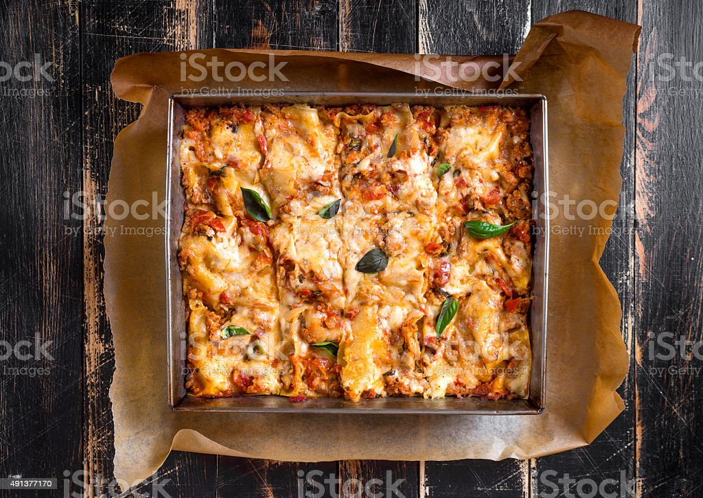 Top view of a traditional italian lasagna stock photo