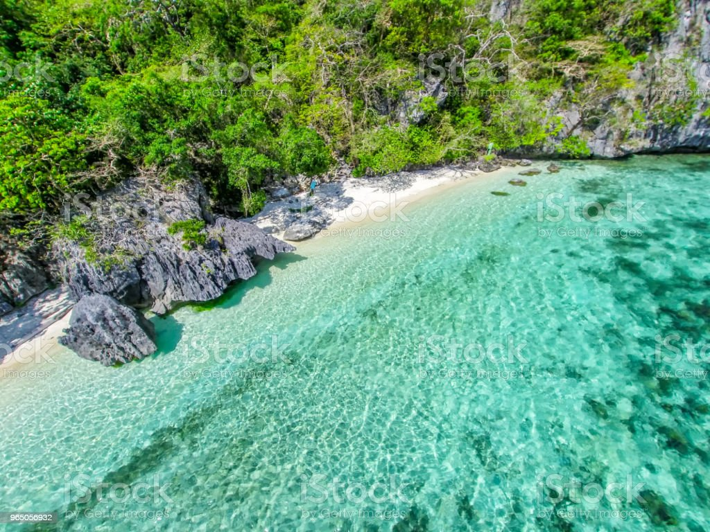 Top view of a tropical island with palm trees and blue clear water. Aerial view of a white sand beach and boats over a coral reef. The island of Palawan, Philippines. royalty-free stock photo
