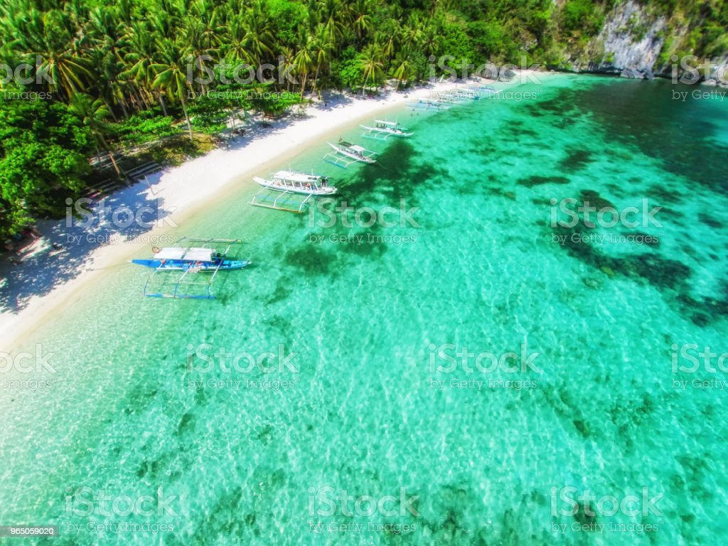 Top view of a tropical island with palm trees and blue clear water. Aerial view of a white sand beach and boats over a coral reef. The island of Palawan, Philippines. zbiór zdjęć royalty-free