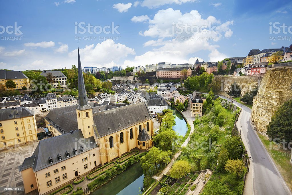 Top view of Abbey de Neumunster in Luxembourg stock photo