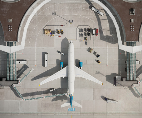 Top view of airplane at airport terminal. 3D drone view of generic airport terminal with parked aircraft.