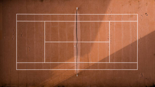 top view of an abandoned tennis court. - desolated stock pictures, royalty-free photos & images