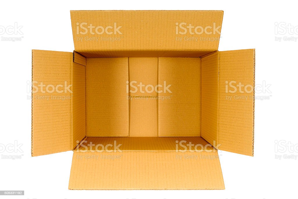 Top view of an open plain brown blank empty box stock photo