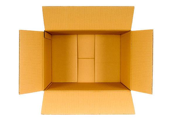 widok z góry otwarty splot brązowy puste puste pudełko - puste pudełko zdjęcia i obrazy z banku zdjęć