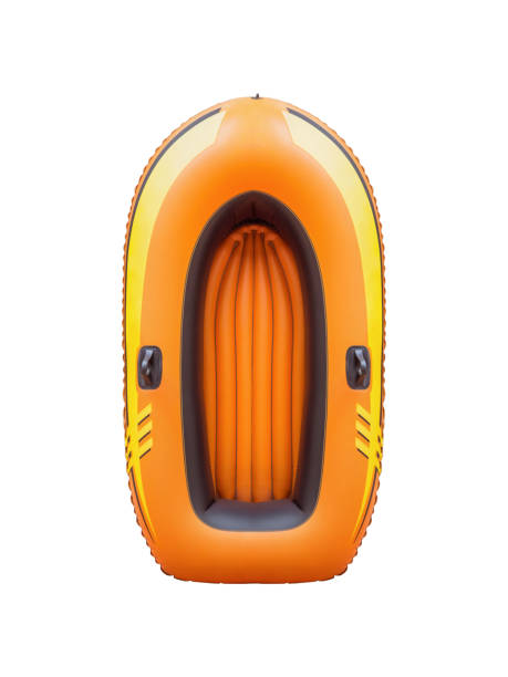 ovanifrån av en orange gummibåt, isolerad på vit bakgrund med urklippsbana. - livbåt bildbanksfoton och bilder
