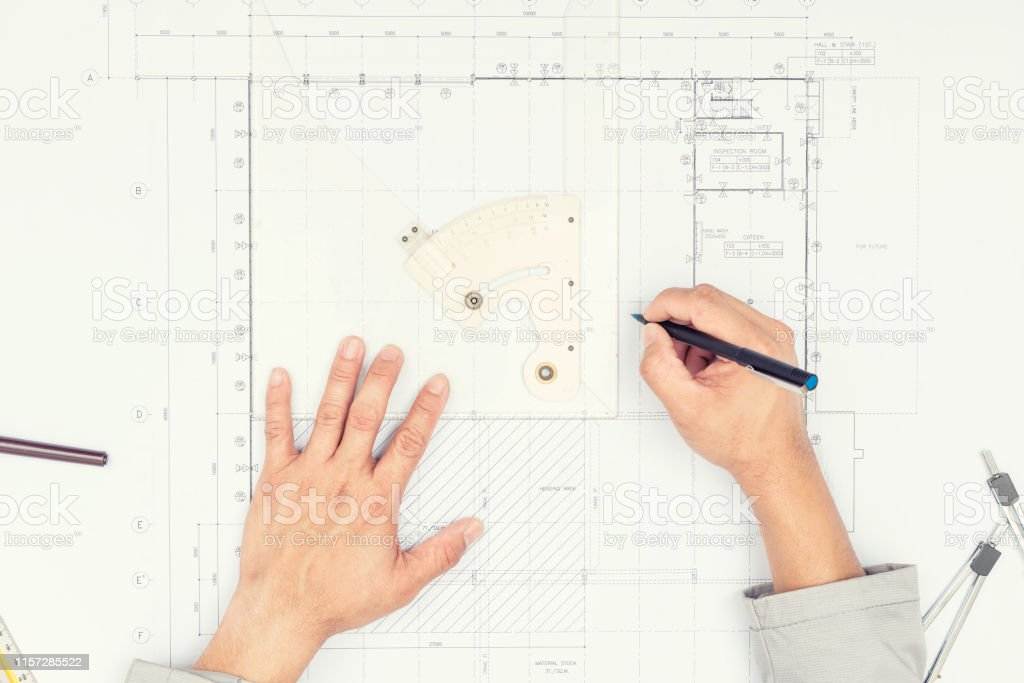 Top view of architect drawing