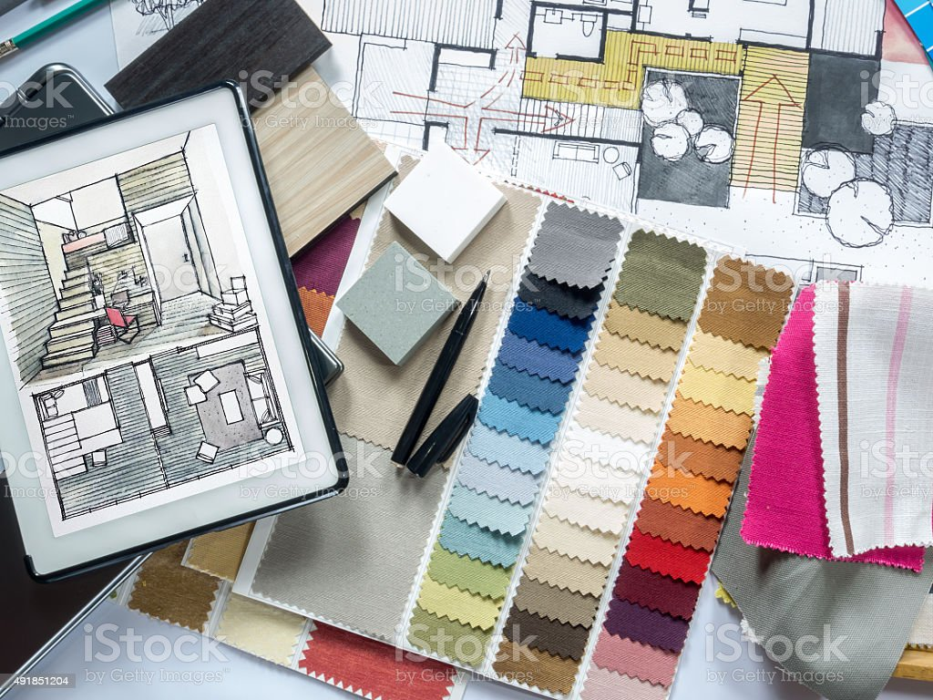 Top view of Architect & Interior designer working table concept stock photo