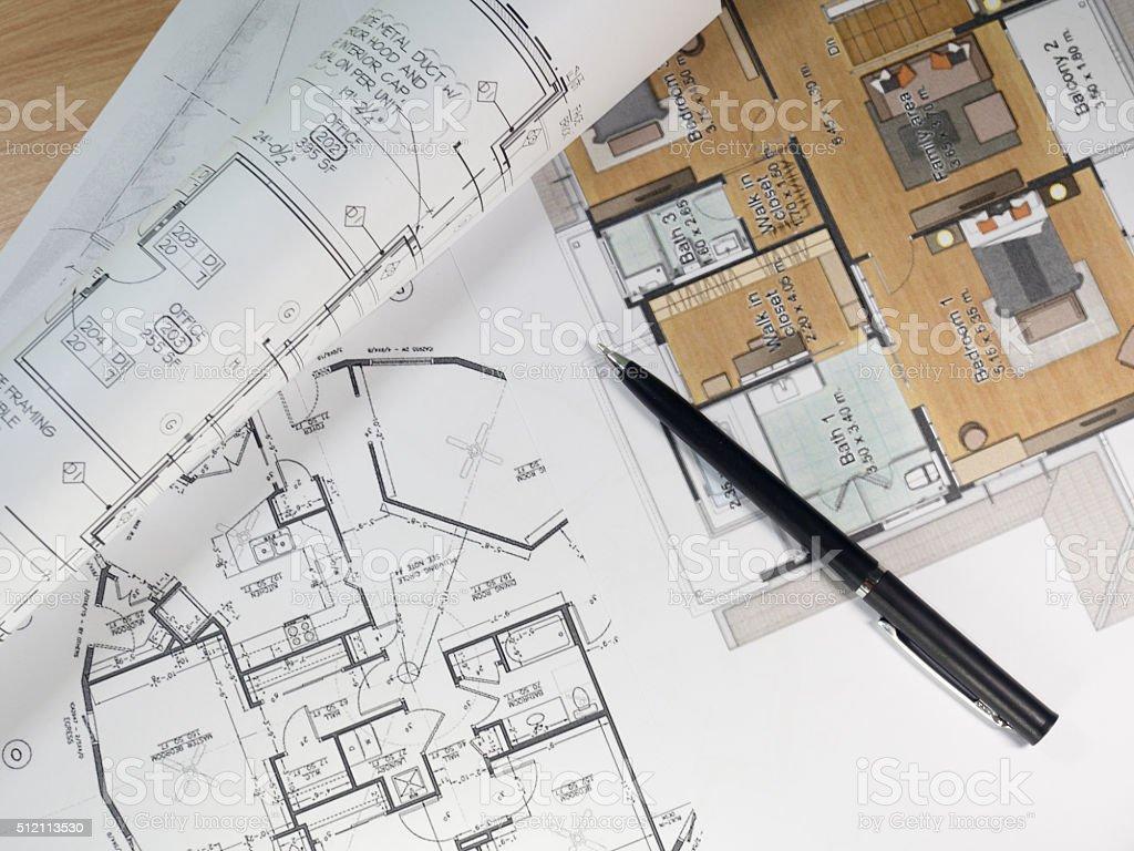 Aufsicht Von Architektonischen Entwürfe Umgesetzt Und Blaupause ...