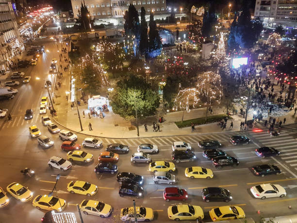 Top view of Athens in Syntagma. Christmas holidays in Greece. stock photo