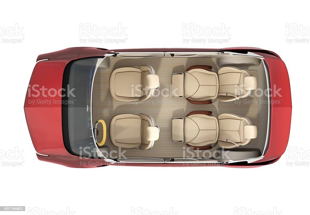 Top view of autonomous car cutaway image – Foto