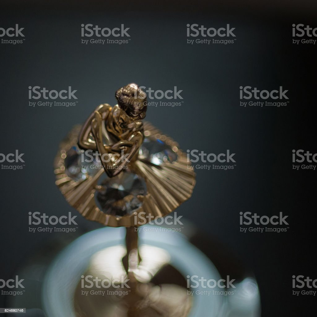 Top view of ballerina statuette on music box. stock photo