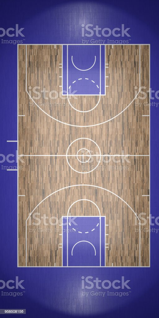 top view of basketball court 3d render stock photo