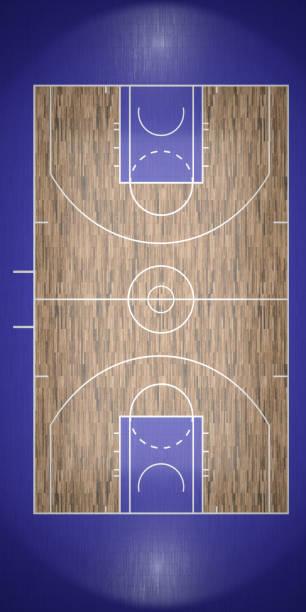 vista superior de basquete tribunal 3d render - foto de acervo