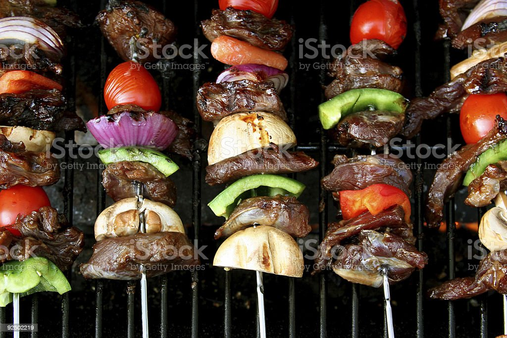 top view of BBQ sticks royalty-free stock photo