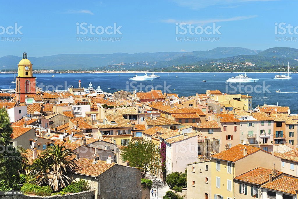 Top view of beach homes in St. Tropez, France stock photo