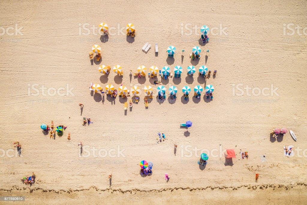 Top View of Beach Summer Scene in Miami Beach, Florida, USA stock photo