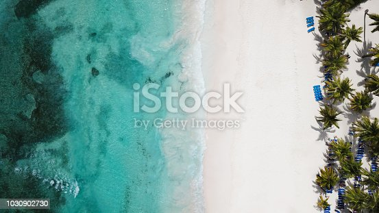 istock Top view of beautiful white sand beach with turquoise sea water and palm trees, aerial drone shot. Nature background 1030902730
