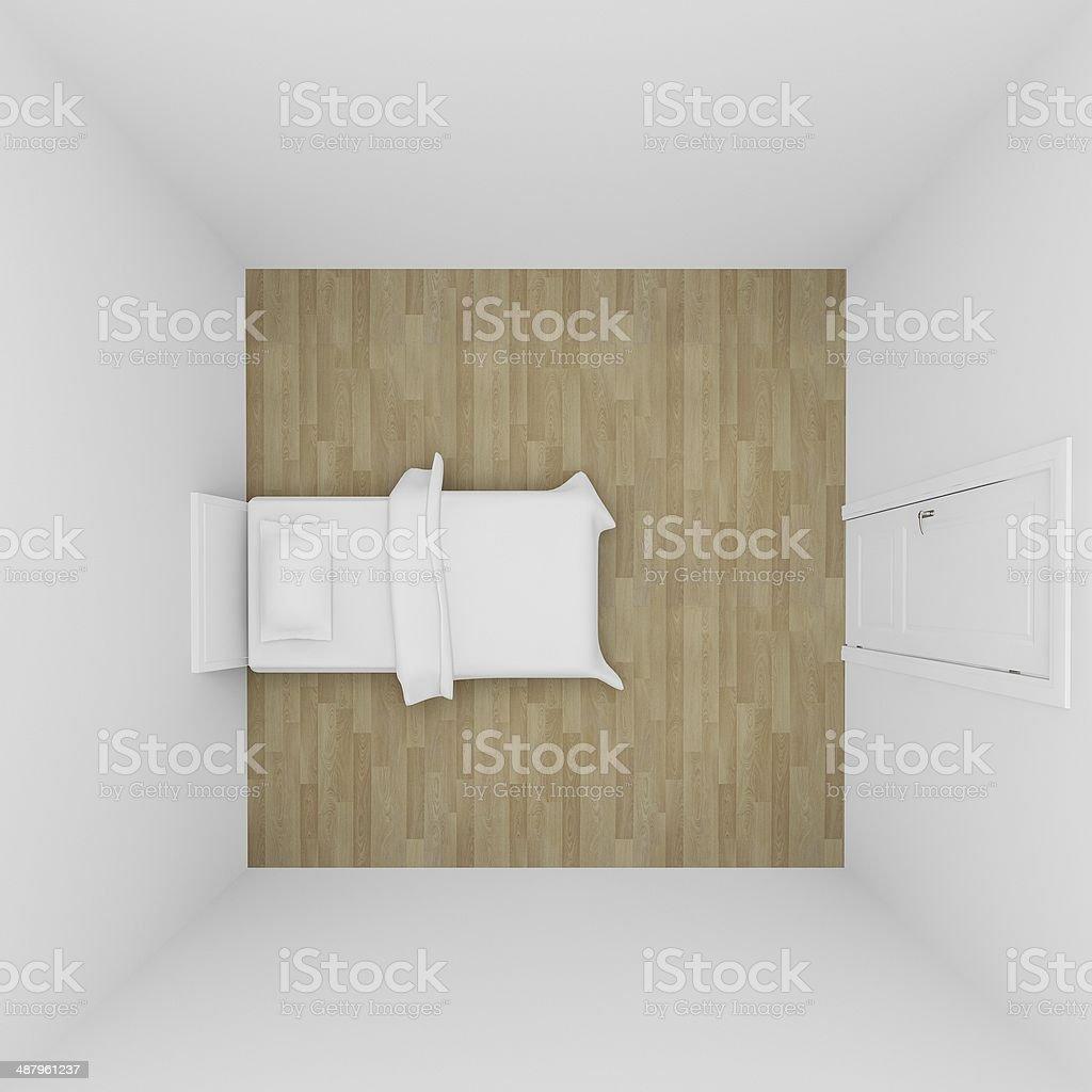 top view of bedroom interior ,3d render stock photo