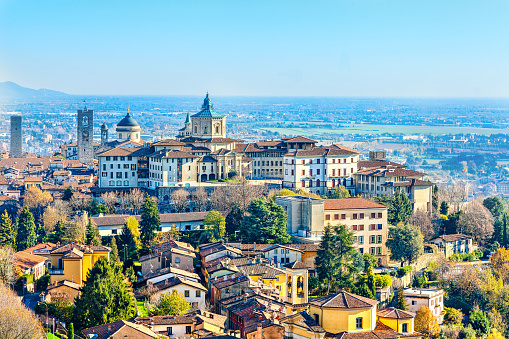 Top view of Bergamo -  city in the alpine Lombardy region of northern Italy.