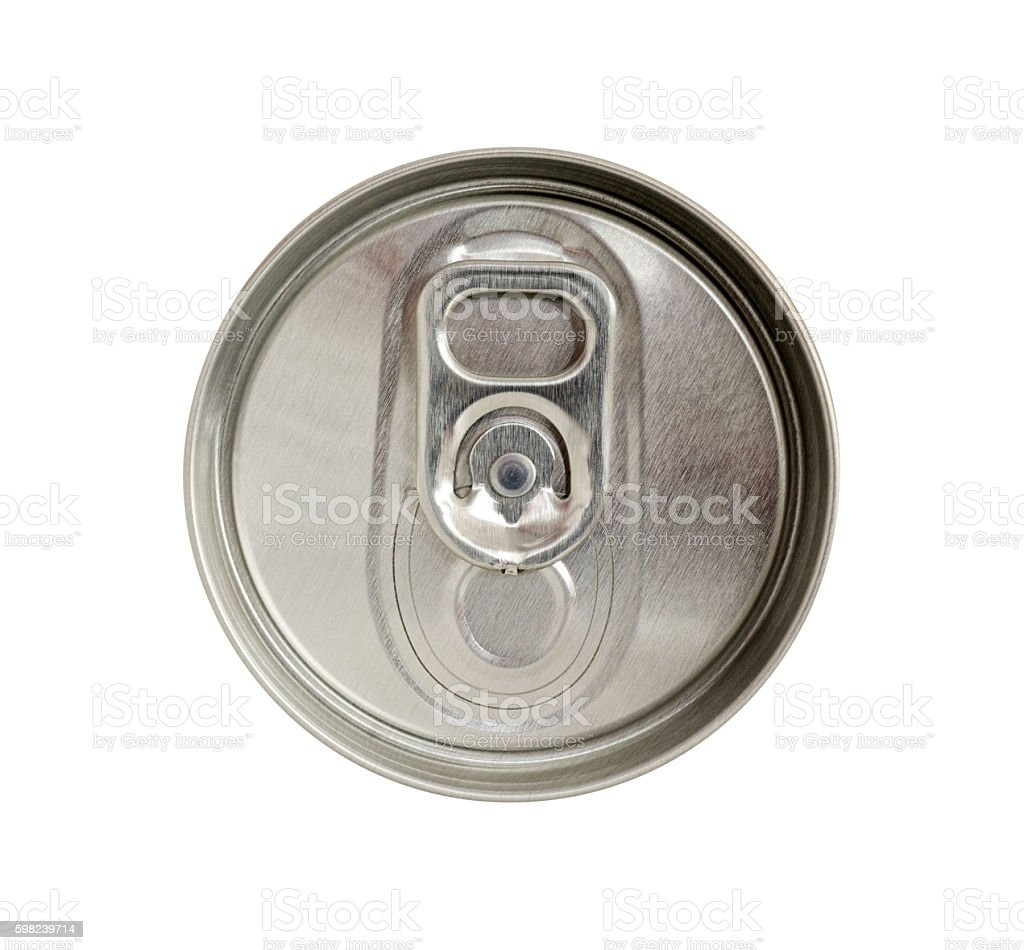 Top view of beverage can with silver ring pull stock photo