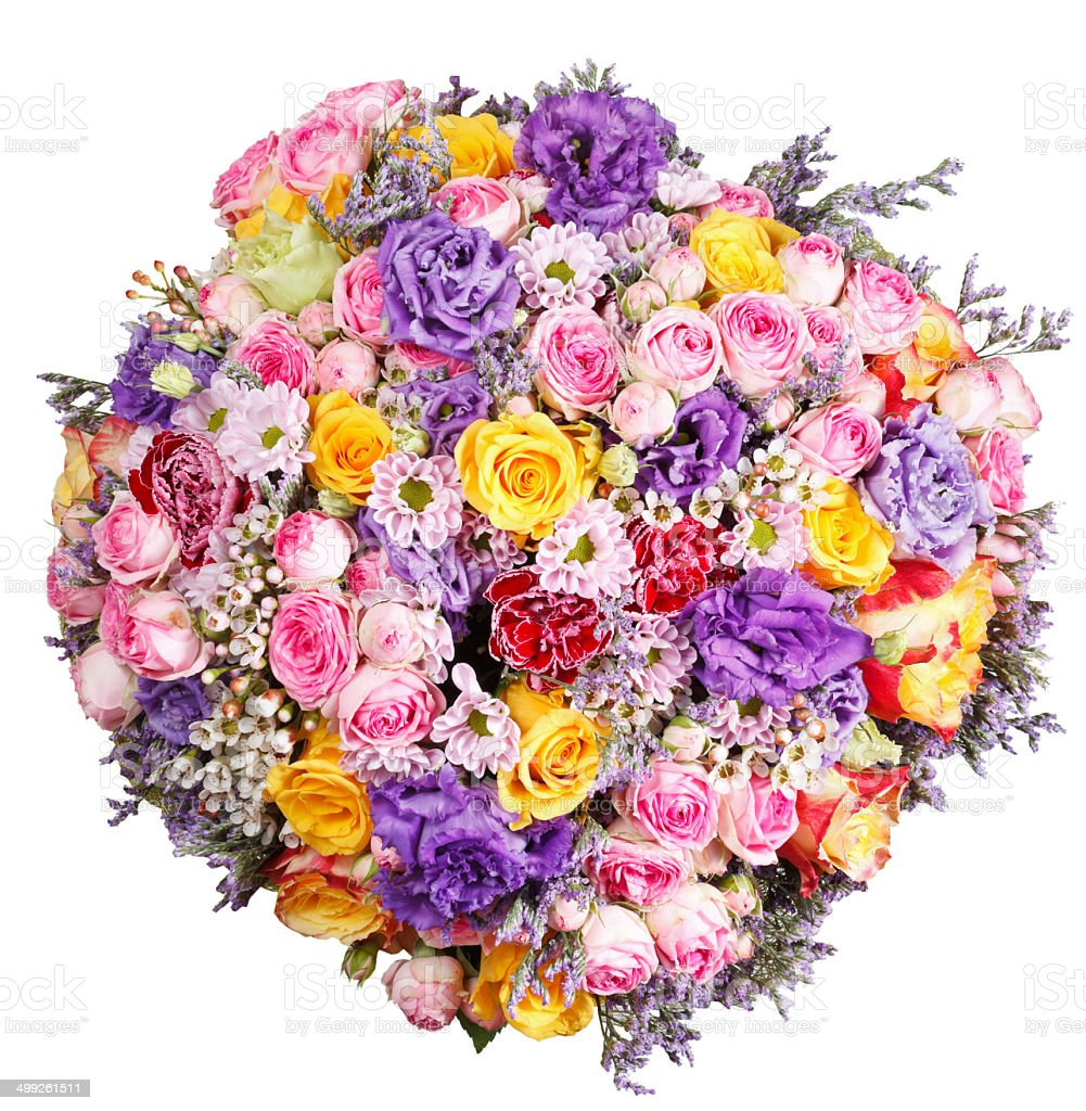 Top View Of Big Bunch Of Flowers Isolated Stock Photo More