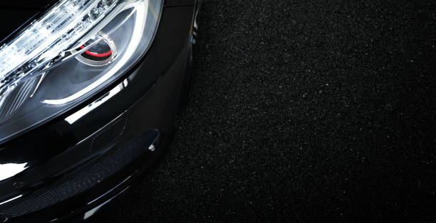 Top view of black modern car headlights stock photo