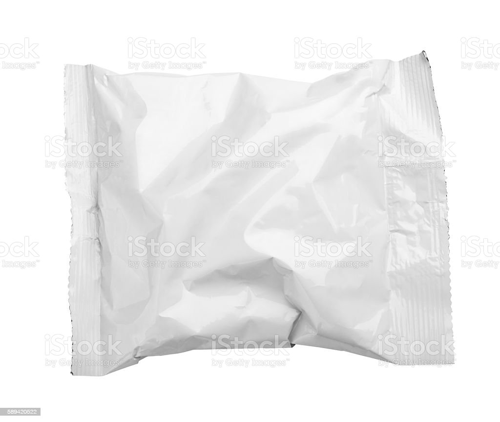 Top view of blank crumpled plastic food packaging on white stock photo