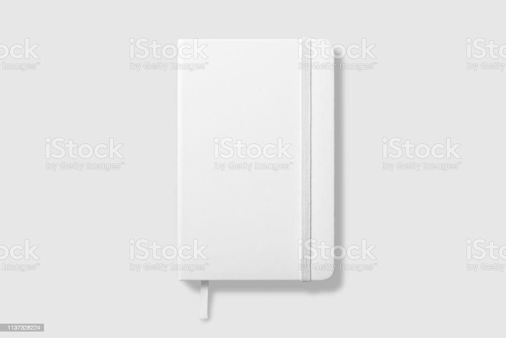 明るい灰色の背景に空白の写実的なノートブックのモックアップの上面図。 - 3Dのロイヤリティフリーストックフォト