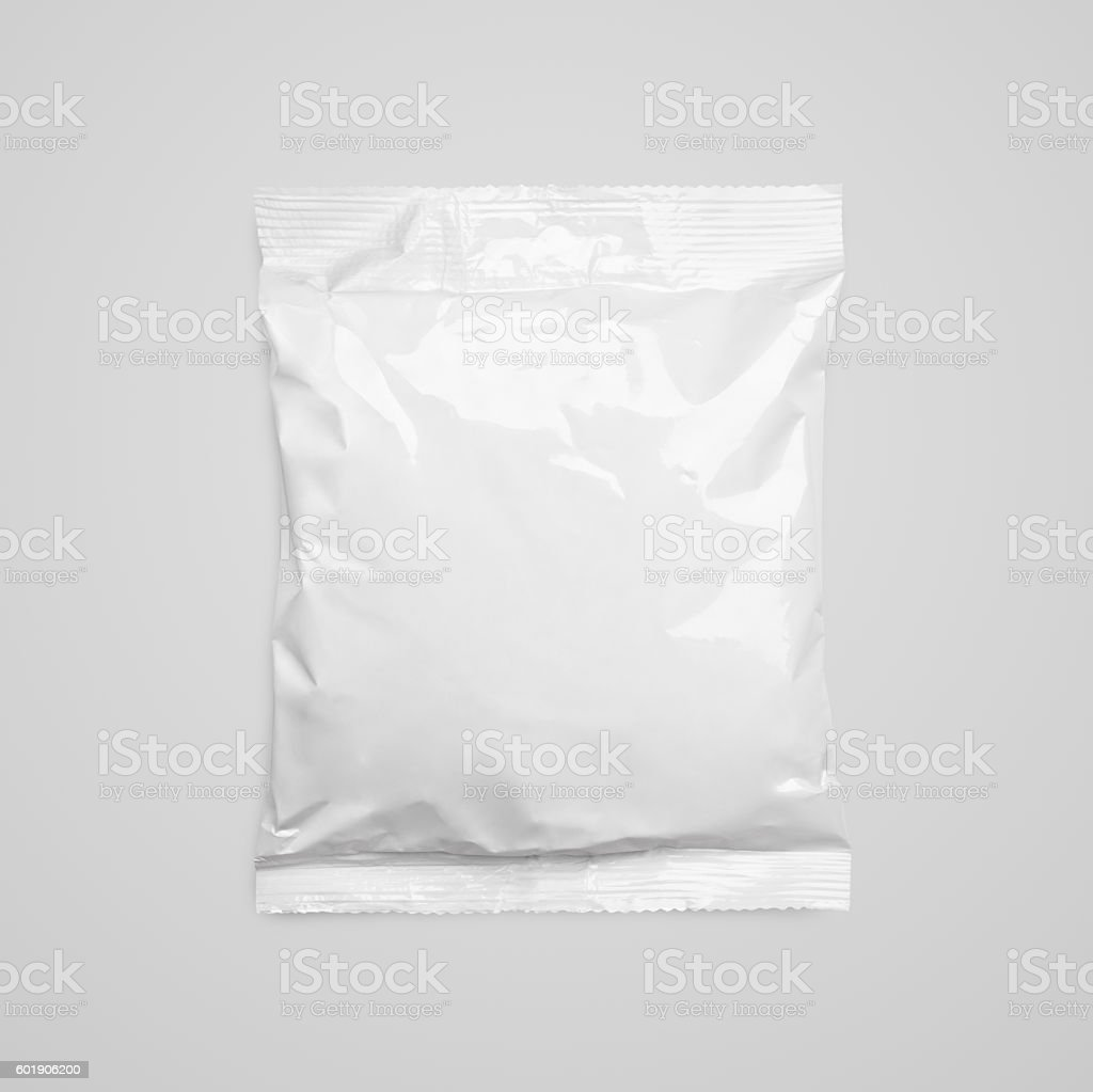 Top view of blank plastic pouch food packaging on gray stock photo
