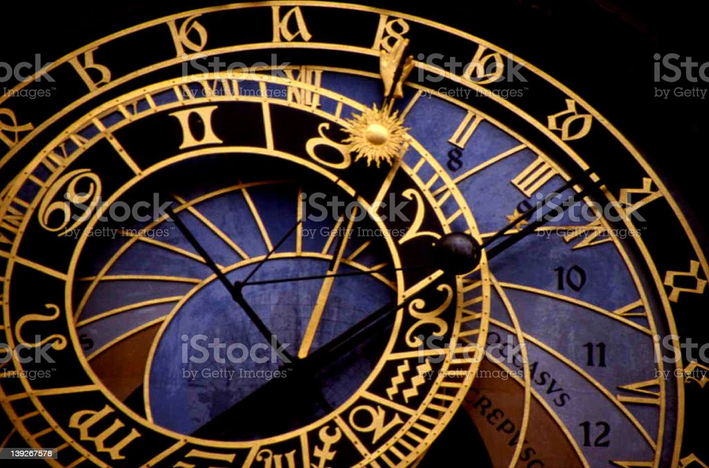 Top view of blue and gold astronomical clock in Prague stock photo
