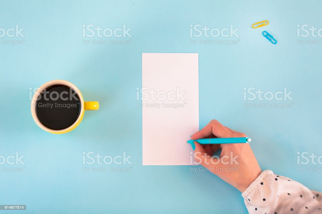 Top view of blue office desk stock photo