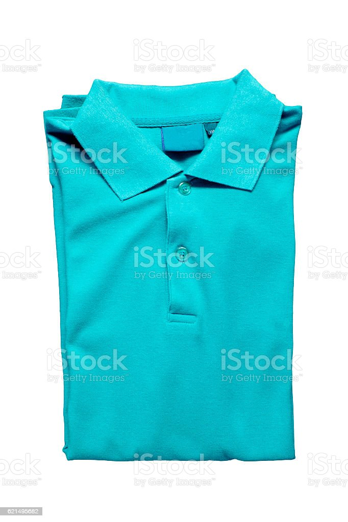 Top view of blue polo shirt on a white background foto stock royalty-free