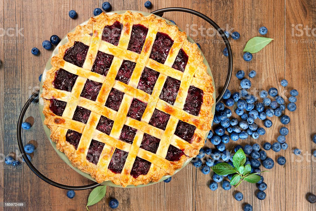 Top view of blueberry pie with lattice crust