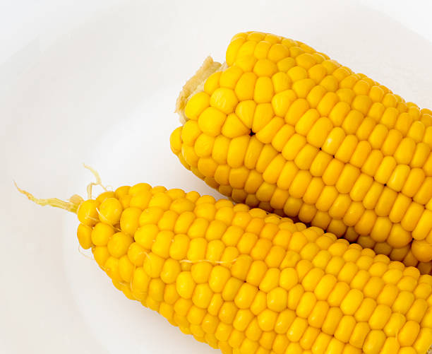 Top View of Boiled Corn in a Plate stock photo