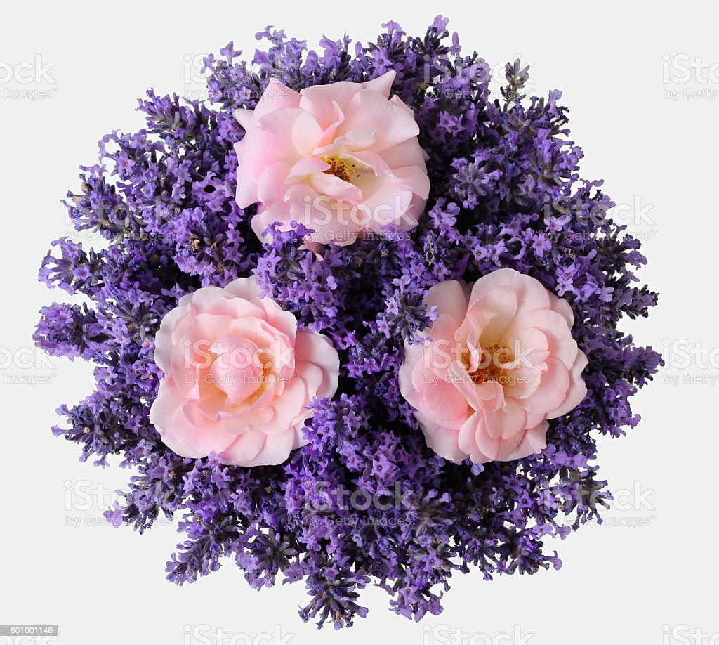 Top View Of Bouquet Of Lavender And Pink Roses Flowers Stock Photo