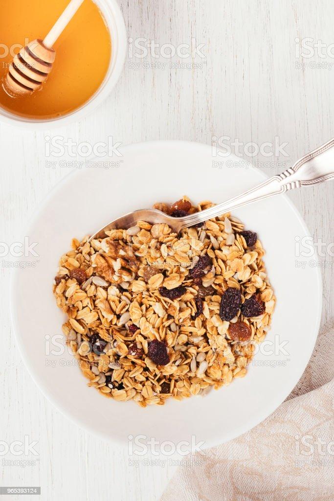 Top view of bowl with granola. zbiór zdjęć royalty-free