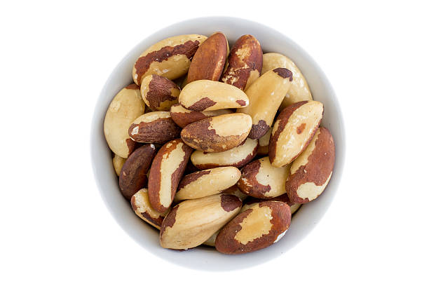 top view of brazil nuts stock photo