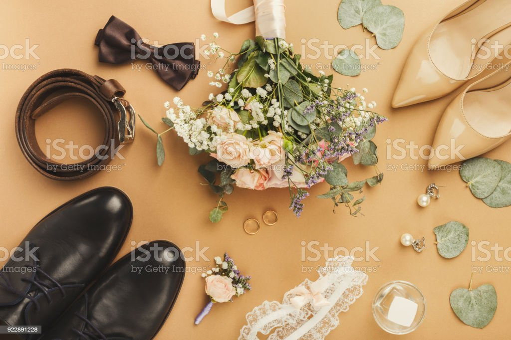 Top view of bride and groom shoes stock photo