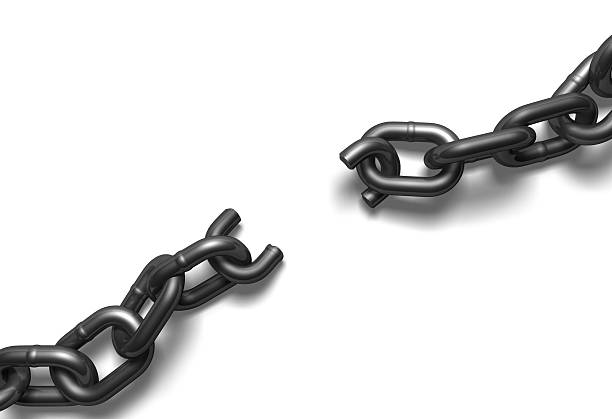 top view of broken steel chain on white - detachment stock pictures, royalty-free photos & images