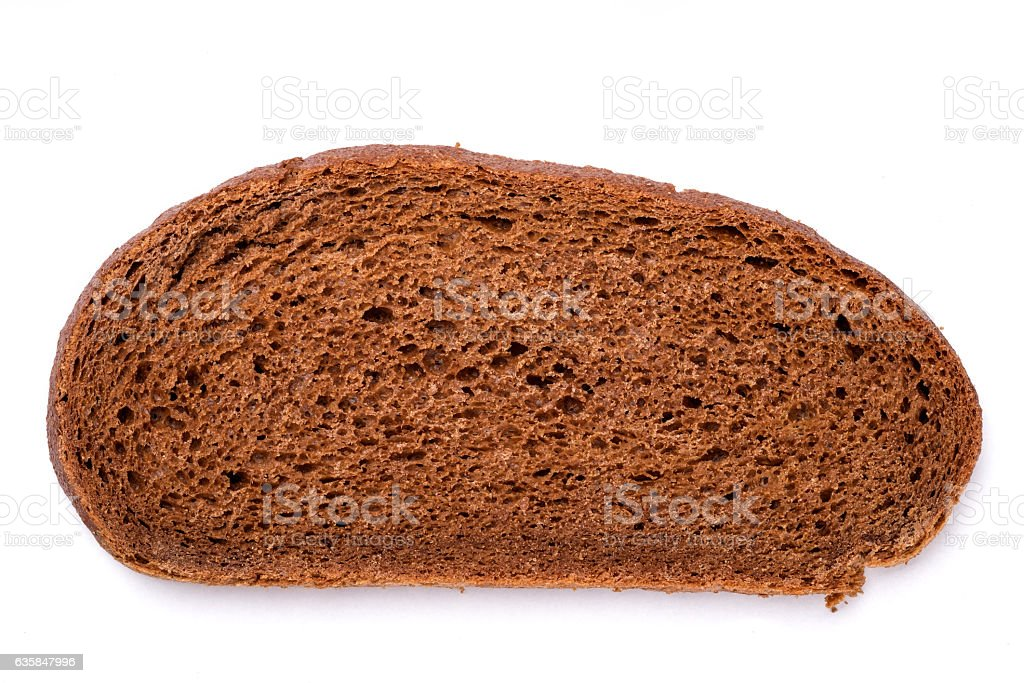 Top view of brown brread loaf on white background stock photo