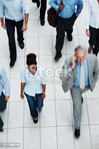 istock Top view of business executives walking on tiled floor 121199518