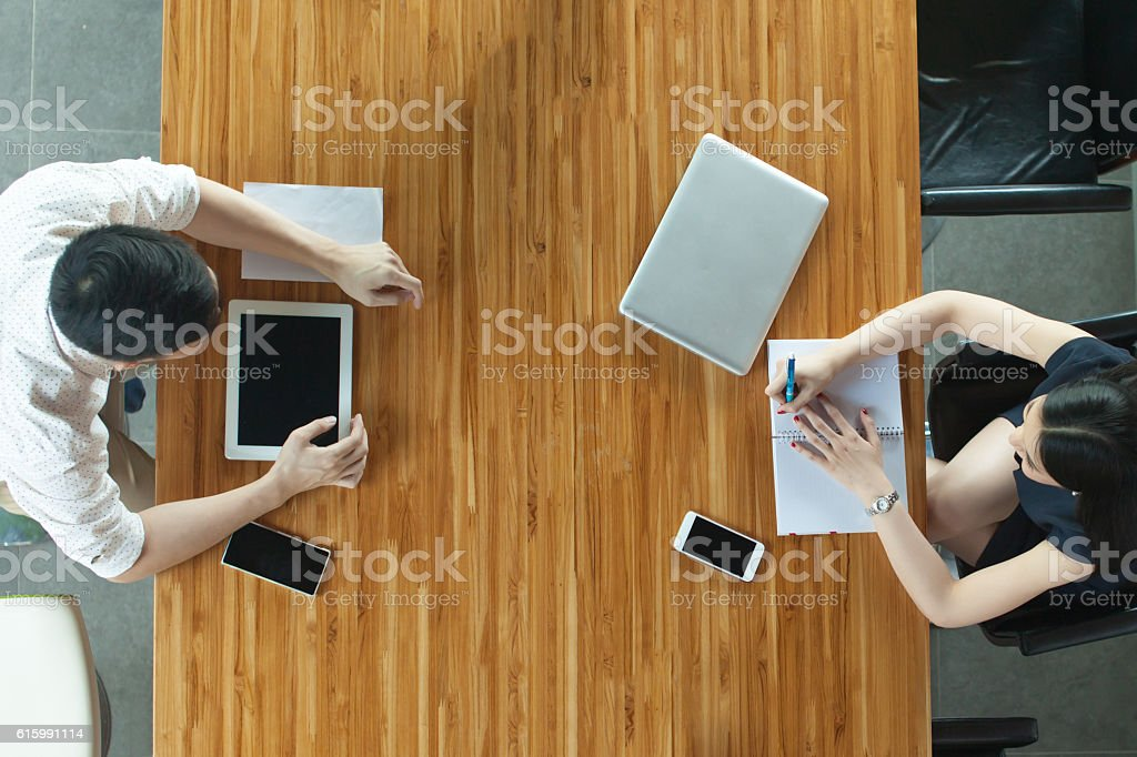 Top View of Business or Creative People Discussing on desk stock photo